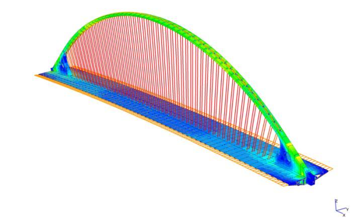 Fig 3 modello in straus7 del ponte centrale di scavalcamento for Gradini del ponte curvi
